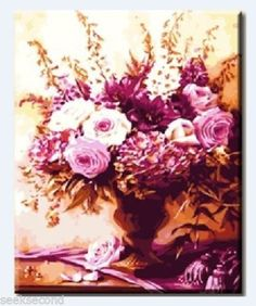 Acrylic-Paint-by-Number-Kit-50x40cm-20x16-Flowers-DIY-PBN-BW7110 List Of Paintings, Paint By Number Kits, Flowers, Diy, Bricolage, Do It Yourself, Royal Icing Flowers, Flower, Homemade