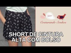 Como fazer saia franzida com cós anatômico e bolsos laterais - YouTube