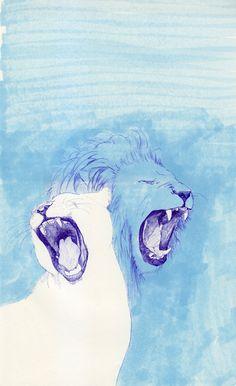 Two Lions Art Print by Fatma   Society6