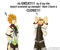 Ven & Roxas ---- Awwww! :) No Roxas, he's not your clone! There, there. *hug*