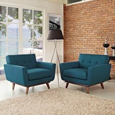Engage Armchair Wood Set of 2 in Azure | LexMod