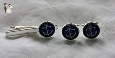 Blue Anchor Cufflinks and Tie Clip Set, Nautical Cufflinks and Matching Tie Clip - Groom cufflinks and tie clips (*Amazon Partner-Link)