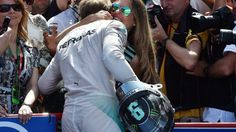 Nico Rosberg (GER) Mercedes AMG F1 celebrates with his wife Vivian Sibold (GER) in parc ferme at Formula One World Championship, Rd5, Spanish Grand Prix Qualifying, Barcelona, Spain, Saturday 9 May 2015. © Sutton Motorsport Images