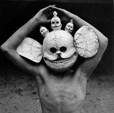 Tibetan Shaman wearing a Citipati Skull Mask Art Premier, Photocollage, Tribal Art, Headgear, Occult, Anthropology, Weird, Creatures, Graffiti
