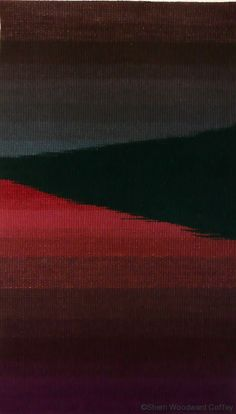 """Sherri Woodard Coffey/US. Layers, hand-dyed wool yarns, tapestry,24"""" x 40.5"""", private collection"""