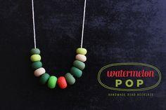 Watermelon Pop - Mixed Green Handmade Bead Necklace.. $48.20, via Etsy.