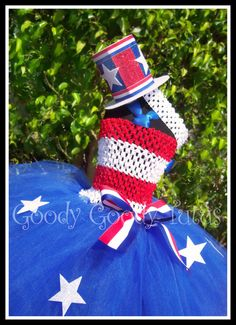 YANKEE DOODLE SWEETIE Patriotic Tutu Dress with Glittery Mini Top Hat Up to 24mos. $75.00, via Etsy.