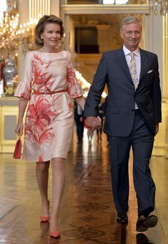 Queen Mathilde (L) of Belgium and King Philippe arrived at the award ceremony of the King Baudouin foundation for development in Africa at the Royal Palace, in Brussels, on June 3, 2015. The winner this year is Burundian organisation ADISCO.