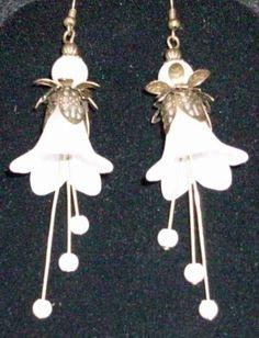 Earrings White Trumpet Flowers with Bronze Findings, Flower Earrings, Moms Day - http://www.funhunter.com/earrings-white-trumpet-flowers-with-bronze-findings-flower-earrings-moms-day.html
