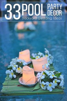 Are you having a backyard wedding? We have 21 pool decor ideas for your big wedding day! The ideas are endless. We have ideas for decor that include floating candles to flowers and much more… backyard big 15 Pool Decor Ideas For Your Backyard Wedding Floating Flower Centerpieces, Floating Candles Wedding, Floating Flowers, Backyard Wedding Pool, Backyard Pool Parties, Backyard Patio, Pool Wedding Decorations, Decoration Party, Pool Candles