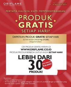 Untuk pertama kalinya... Dapatkan produk GRATIS SETIAP HARI dengan produk yg berbeda!  *hanya untuk MEMBER