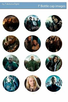 "Folie du Jour Bottle Cap Images: Harry Potter free digital bottle cap images 1"" 1inch"