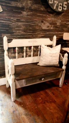 Vintage bed  repurposed into bench with bottom storage drawer - added antique glass knob - by Zoey's