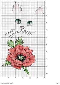 Cross-stitch Cat with Flowers.. no color chart available, just use the colors on pattern chart as your guide.     Gallery.ru / Фото #1 - 31 - Olsha