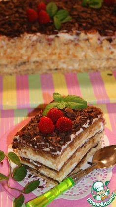 Швейцарский торт Коньяк— 2 ст. л. Какао-порошок— 1 ст. л. Кофе растворимый— 2 ч. л. Вода— 200 мл Сахарная пудра— 6 ст. л. Цедра лимона— 1 ч. л. Сливки(35% или домашняя сметана) — 400 г Сыр сливочный(Филадельфия, Альменте, можно заменить на пастообразный творог) — 600 Разрыхлитель — 1 ч. л. Мука пшеничная— 175 г Сахар(+ 2 ст.л. для пропитки) — 200 г Яйцо куриное— 5 шт Шоколад черный— 200 г Масло сливочное— 75 г Конфитюр 100 г Шоколад белый— 100 г