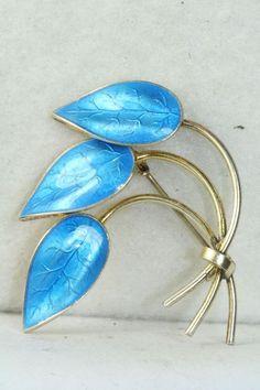 Enamel Jewelry, Jewellery, Blue Leaves, Silver Enamel, Brooch Pin, Norway, Scandinavian, Vintage Jewelry, Sterling Silver
