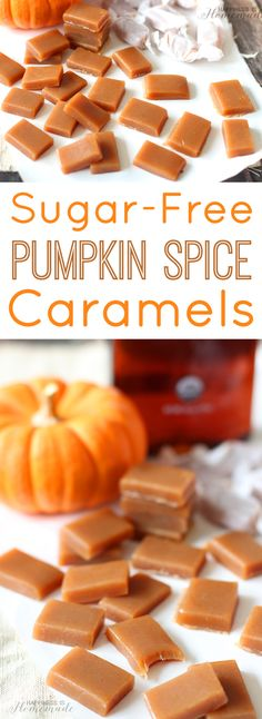 Sugar-Free Pumpkin Spice Caramels with Agave from - ad Happiness is Homemade (Pumpkin Butter Uses) Sugar Free Candy, Sugar Free Treats, Sugar Free Desserts, Sugar Free Recipes, Candy Recipes, Fall Recipes, Dessert Recipes, Pumpkin Recipes No Sugar, Sugar Free Fudge