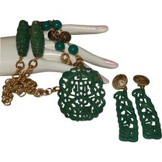 Vintage Faux Green Jade Necklace/Earrings