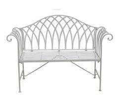VRTNA KLUPA - bijela, Romantično / ladanjski, metal (128/93/44cm) - AMBIA GARDEN