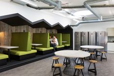 Built-in booth seating in the cafeteria / pantry area from Merkle / Periscopix Offices - London - Office Snapshots