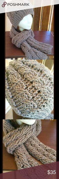 Unisex Cable Hat & Scarf Set Nice and thick hat and scarf set will keep you extra wam this winter. This item is customizable. Order in the color and size that you need! 2 days to make and 1 day to ship. Amanda DePastino Accessories Hats