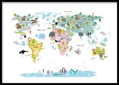 Kids print with a map and animals in nice colours.