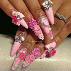 Vintage, matte Gyaru nails with ombré blossoms and matching bows. Bling Nails, Swag Nails, Cute Nails, Pretty Nails, 3d Acrylic Nails, Coffin Nails, 3d Nail Designs, Vintage Nails, Kawaii Nails