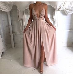 Halter Nude Maxi Dress - Fashion Frenzzie