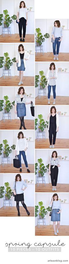 at least – SPRING CAPSULE WARDROBE. 10 Outfits mit nur 10 Kleidungsstücken (Schuhe zählen mit ;)) #10x10Challenge