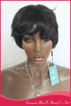 Free&Fast Shipping Best quality Top Sale Charming Short 100% Human Hair Machine Made Wigs for black women in stock $56.00