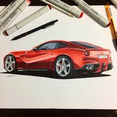 #ferrari #f12 #berlinetta #sketch #industrial #design #copic #illustration #marker #render #workshop #sketchzone #thesketchmonkey #industrialdesign #red