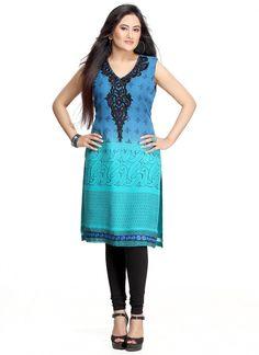 $75 #Blue #Turquoise #Printed #Kurti