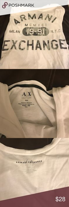 Armani exchange tagless tee I do have an iron I just don't use it on hubs thing.  The perpetual forever strike. No holes rips tears or stains on this cool tee .  Still bright white.  Hubs wore it maybe 2x I don't even remember seeing him in this.  A/X Armani Exchange Shirts Tees - Short Sleeve