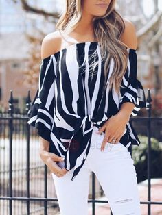 NEW Off Shoulder Waist Tie Blouse Women Striped Short Sleeve Casual Shirts Tops Blusas Mujer De Moda 2018 Shoulder Off, Shoulder Shirts, Cold Shoulder, Off Shoulder Blouse, Shoulder Sleeve, Bell Sleeve Shirt, Shirt Sleeves, Half Sleeves, Tie Blouse