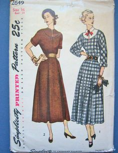 Vintage 1940 or early 50s Simplicity 2649 sewing by Fancywork, $11.00
