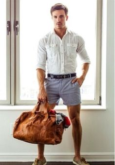 It's a great weekend look..white oxford, rolled up belted shorts and classic tan boat shoes.