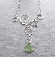 Green sea glass necklace- ocean glass necklace- wire wrapped necklace- seaglass necklace-mermaid necklace- sea glass jewellery