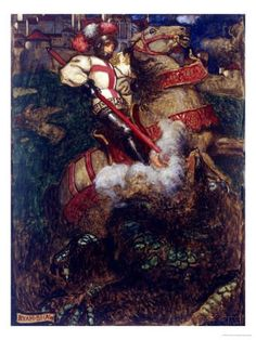 St George Slaying the Dragon, 1908 by John Byam Shaw