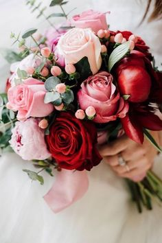 Red and pink flower bouquet with roses and peonies. #bridal #bouquet