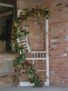 screen door... different garland and flowers