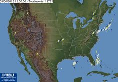 "Vaisala Lightning Explorer displays recent lightning activity across the entire continental U.S. The lightning data displayed is 20 minutes delayed and updated every 20 minutes. Get the latest map available by clicking ""Refresh"" under the map. The map shows a 2-hour time period with lightning data color coded in 20-minute increments."
