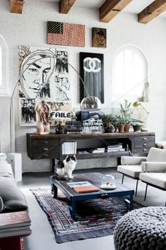 Loft living room with graphic art and industrial / contemporary furniture