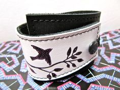 Leather Cuff Wrap Bracelet, Bird on a Wire Print in Black & White - SALE - see Shop for Coupon Codes...