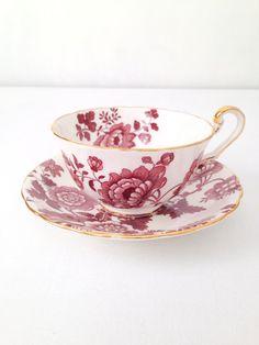 Antique Rare Cartwright & Edwards Victoria Mandarin motif brun porcelaine anglaise tasse à thé et soucoupe Duo