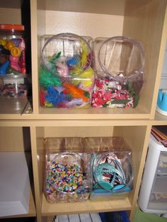 candy jar storage for art supplies - love these in my craft room! need these in plastic