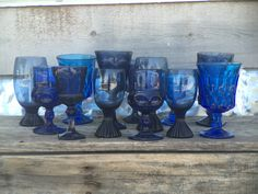 eclectic mix of blue vintage glassware...  Mintage Rentals has modern + vintage rentals for staging and special events.