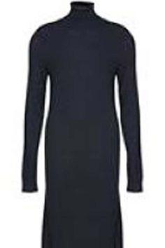 Knitted dress black | turtleneck | soft Malie Dress  by ICHI. Clothing - Dresses - Midi Netherlands