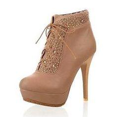 #EricDress - #EricDress Rhinestones stiletto heel two ways of wear style beige shoes - AdoreWe.com