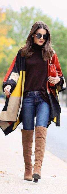 poncho colorido, otk caramelo, calça jeans