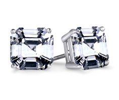 Asscher Diamond Stud Earrings in White Gold (4 ctw)